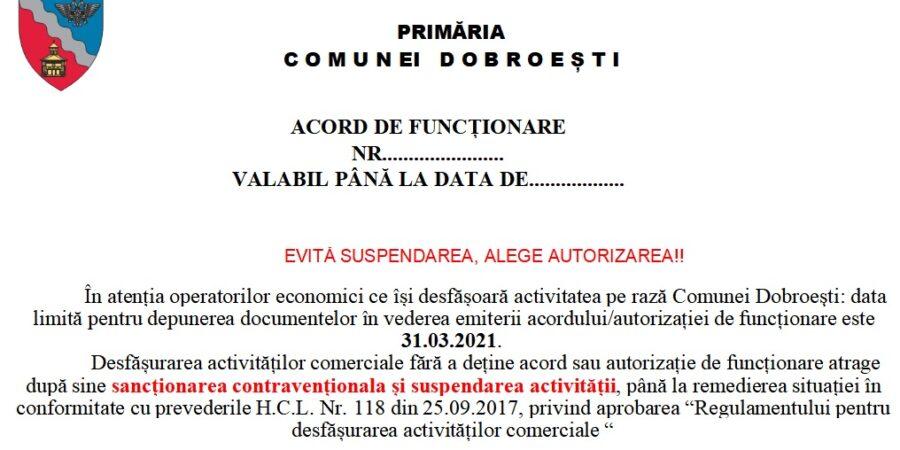 Documentele necesare obținerii avizului/autorizației de funcționare: