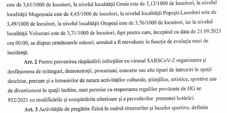 In atenția locuitorilor din Dobroești cât și a operatorilor economici –  HOTĂRÂREA nr. 164 din 20.09.2021 privind prelungirea stării de alertă